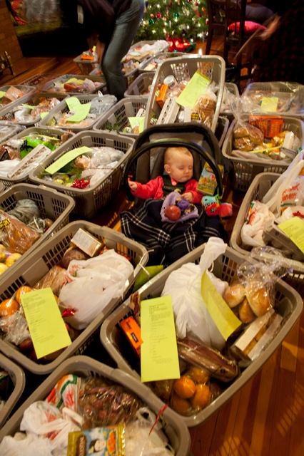 Baby Ambria amongst the hampers